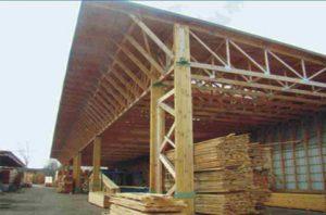 Medinis didelių tarpatramių angaras su medinėmis santvaromis-projektai-santvaros.lt